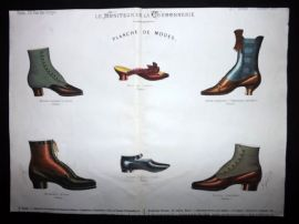 Le Moniteur de la Cordonnerie C1890 Rare Hand Colored Shoe Design Print 58